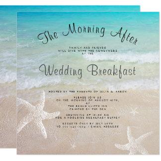Beach Wedding Breakfast Square Invitations