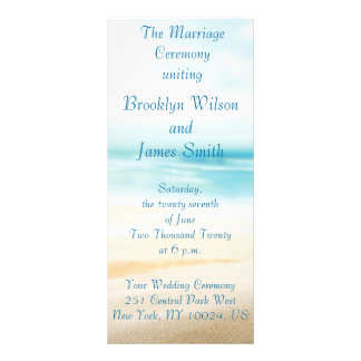 Beach Wedding Ceremony Programs Full Color Rack Card
