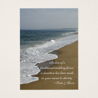 Beach Wedding Charity Favor Card