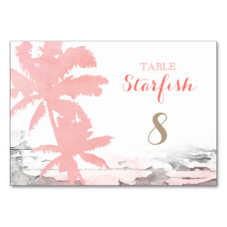 Beach Wedding Coral Palm Trees Wood Table Card