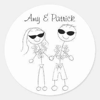 Beach Wedding Couple Stickers