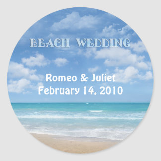 Beach Wedding (customizable) Classic Round Sticker