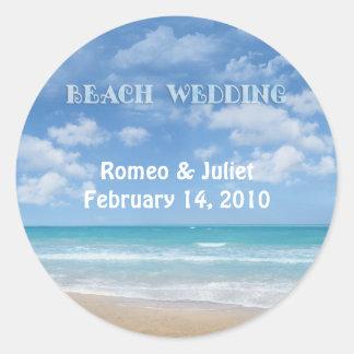 Beach Wedding (customizable) Classic Round Sticker