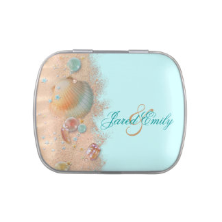 Beach Wedding Favor Candy Tins