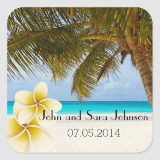 Beach Wedding for the Mr & Mrs | Personalize Square Sticker
