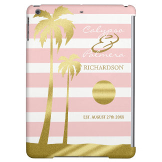 Beach Wedding Gold Glitter Palm Trees Pink Stripes