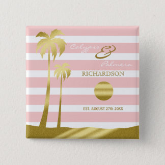 Beach Wedding Gold Glitter Palm Trees Pink Stripes 15 Cm Square Badge