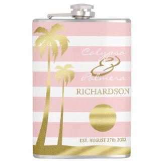 Beach Wedding Gold Glitter Palm Trees Pink Stripes Hip Flask
