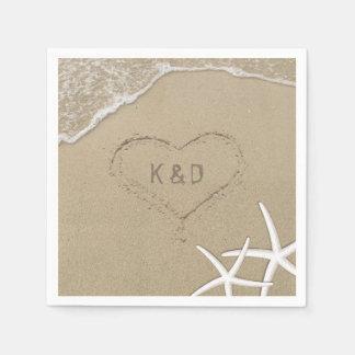 Beach Wedding Heart in the Sand Starfish Disposable Napkin