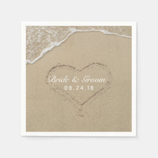 Beach Wedding Heart in the Sand Summer Paper Napkin
