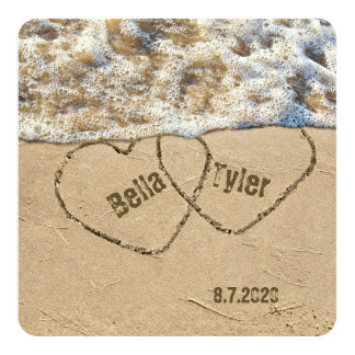 Beach Wedding Hearts Card