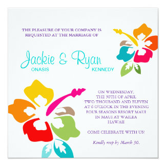 Beach Wedding Hibiscus Flower Colorful Personalized Announcements
