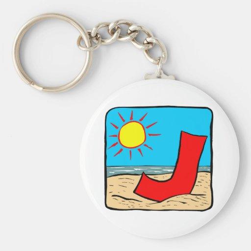 Beach Wedding Ideas Letter J Key Chain