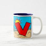 Beach Wedding Ideas Letter V Two-Tone Mug