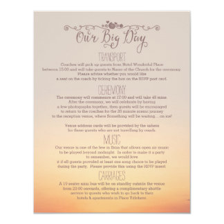 """Beach Wedding Insert """"our big day"""" 11 Cm X 14 Cm Invitation Card"""
