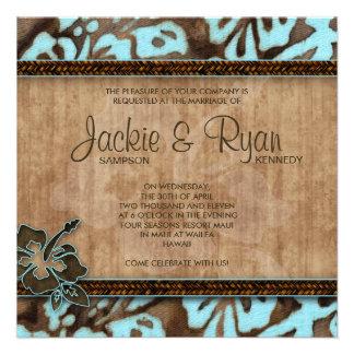 Beach Wedding Invitation Hibiscus Blue Brown