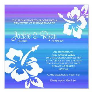 Beach Wedding Invitation Hibiscus Blue Purple