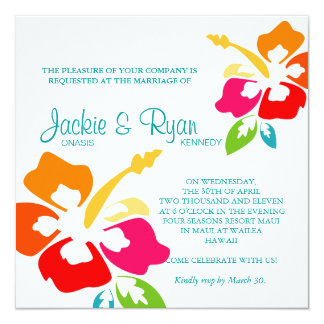Beach Wedding Invitation Hibiscus Flower Colorful