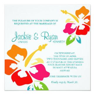 "Beach Wedding Invitation Hibiscus Flower Colorful 5.25"" Square Invitation Card"