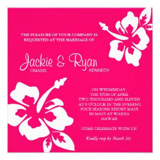 Beach Wedding Invitation Hibiscus Flower Pink
