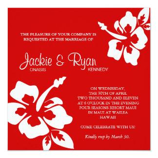 Beach Wedding Invitation Hibiscus Flower Red