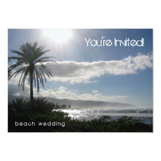 "Beach Wedding Invitation Palm Tree 5"" X 7"" Invitation Card"
