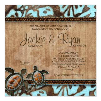 """Beach Wedding Invitation Turtle Blue Brown 5.25"""" Square Invitation Card"""