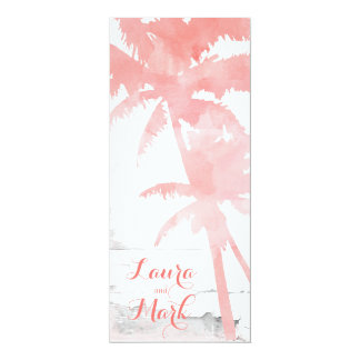 Beach Wedding Invite Coral Palm Trees Wood