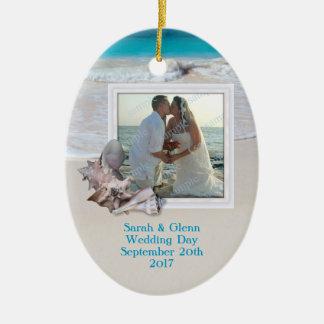 Beach Wedding Keepsake Photo Ornament