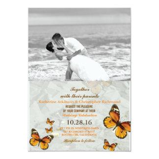 Beach wedding kiss/butterfly card
