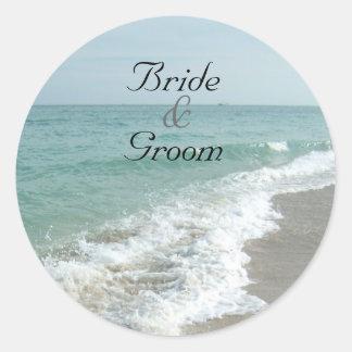 Beach Wedding Matching Envelope Seal Round Sticker