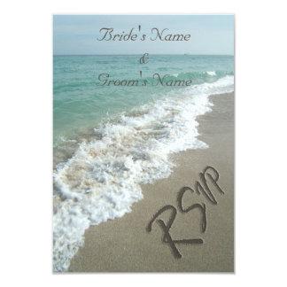 Beach Wedding Matching RSVP, Sand Writing Card