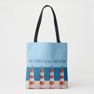Beach wedding Mother Groom lighthouses sand sea. Tote Bag