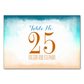Beach Wedding Ombre Table Number Cards Place Cards