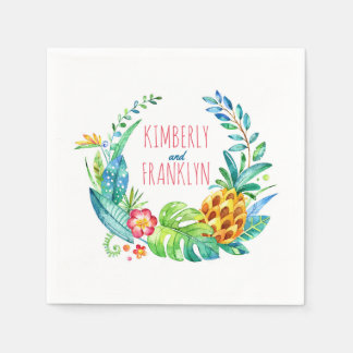 beach wedding palms and pineapple watercolor disposable serviettes