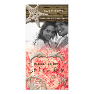 Beach Wedding Photocard Dolphins Coral Shells Photo Card