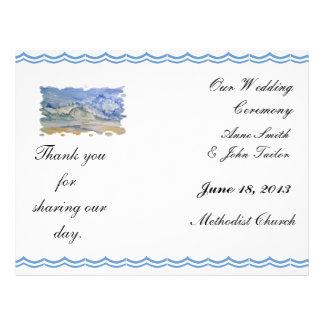 Beach wedding program flyers
