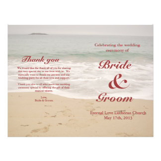 Beach Wedding Program:  Sandy Beach 21.5 Cm X 28 Cm Flyer