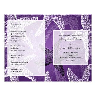 Beach Wedding Program Starfish Purple 21.5 Cm X 28 Cm Flyer