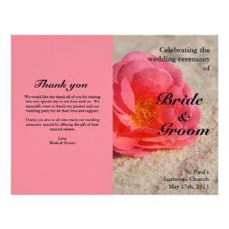 Beach Wedding Programs:  Rose on Sand Flyer Design
