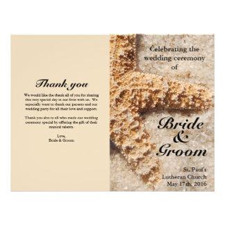 Beach Wedding Programs:  Starfish in Sand 21.5 Cm X 28 Cm Flyer