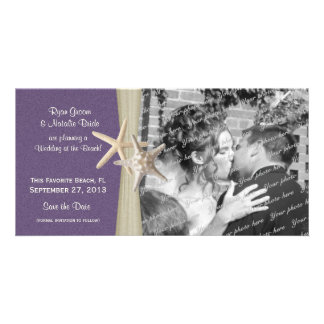 Beach Wedding Purple Save the Date Photo Picture Card