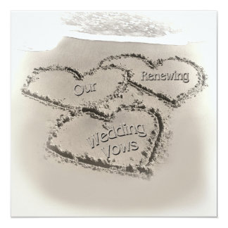 Beach Wedding Renewal - Sand Hearts-Beach 13 Cm X 13 Cm Square Invitation Card
