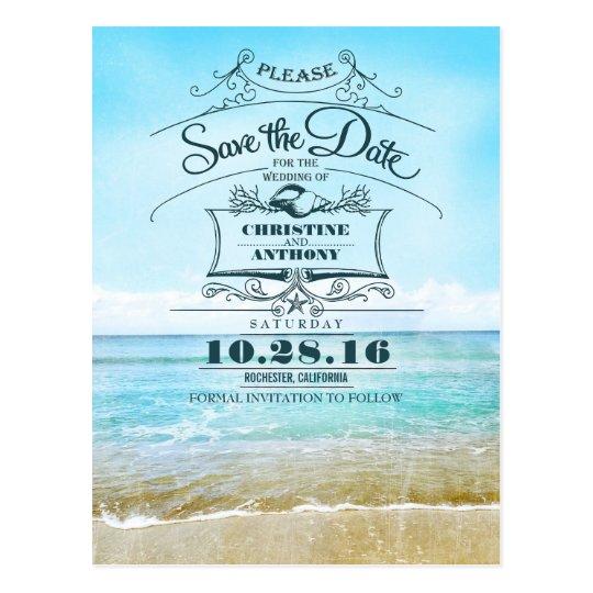 Beach Wedding Retro Save The Date Postcards Zazzle Com Au