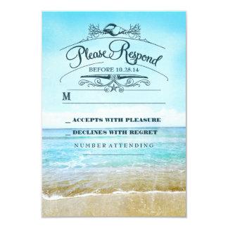 Beach wedding RSVP card 9 Cm X 13 Cm Invitation Card