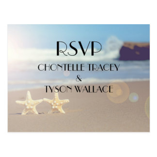 beach wedding rsvp postcard