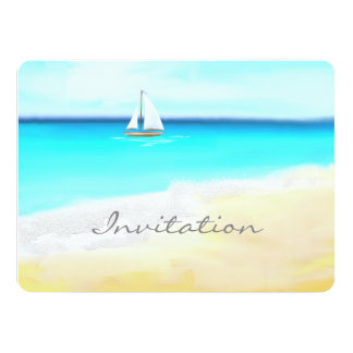 Beach Wedding- Sail boat and tropical  waters Card