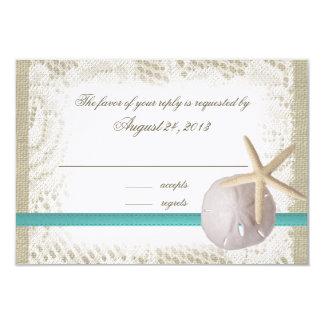 Beach Wedding Sand Dollar and Starfish Card