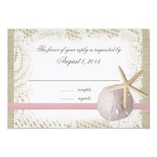 Beach Wedding Sand Dollar and Starfish Pink Card