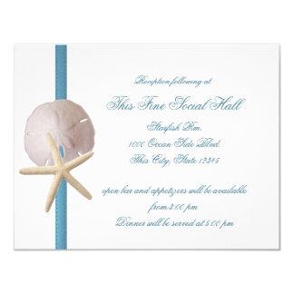 Beach Wedding Sand Dollar and Starfish Reception Card